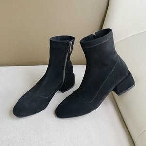 2020 New Zipper Autumn Winter Flock Concise Women Boots Round Toe Fashion Square High Heel Ankle Boots Size 34-43
