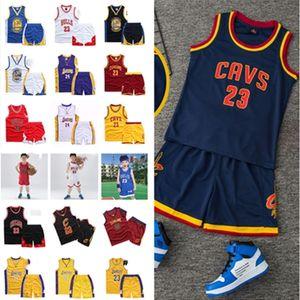 Summer Kids 2020 Basketball Shorts Set Team Name Number Letters Print Boys Girls Teens Sleeveless Tracksuit 2 Piece Sets Sport Suits D22001