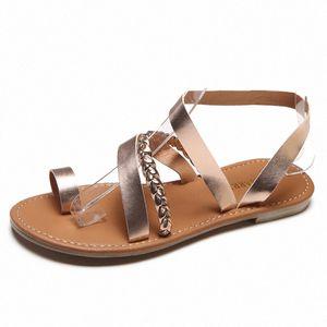 Women Sandals Summer Strappy Gladiator Low Flat Heel Flip Flops Soft Beach Sandals Shoes Woman Female Shoe mqAl#