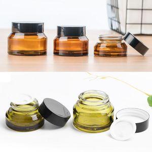 20 adet 15g 30g 50g Cam Amber Yüz Krem Kavanoz Boş Yüz Kremi Losyonu Kozmetik Konteyner Doldurulabilir Şişeler Seyahat Örnek Pots1
