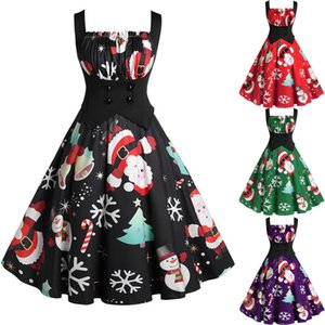 Vintage Sleeveless christmas Print Housewife dresses woman night Evening party Prom Black dress robe noel femme
