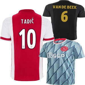 2021 AJAX Accueil Rouge Blue Neres Promes Mens enfants Kit Jersey de football 20 21 Van de Beek Tadic Voicebalshirt Football Jersey Shirt 20 21
