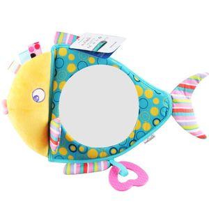 Car Rearview Mirror Baby Hanging Toys Plush Teether Teething Safe Stuffed Newborn Car Seat Infant Nursing Care Toy Soft 201026