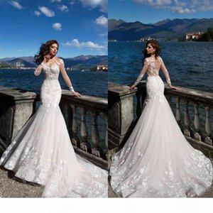 Country 2020 Mermaid Wedding Dresses Sheer Backless Long Sleeve Appliqued Illusion Bodice Bohemian Summer Beach Bridal Gowns
