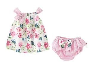 Девушки цветок Подтяжка платье + брюки Нижнего лето Детей бутики одежды Корейского 1-4T Маленьких девочки Bow подтяка платье 2 PC Set