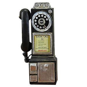 Decoración para el hogar Modelo de teléfono Vintage Modelo de pared Colgando artesanales Adornos Retro Casa Muebles Figuras Teléfono Decoración en miniatura Regalo