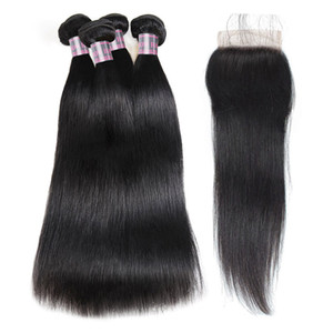 Brazilian Deep Wave Human Hair Bundles With Closure Peruvian Hair 4 Bundles Malaysian Body Wave Deep Loose Hair Extensions
