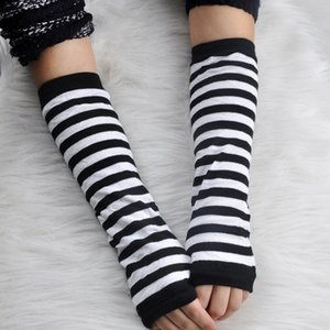 Half Finger Glove Lovely Wool Gloves Arm Stripe Cover Keep Warm Long Fingerless Woman Fashion Mittens Winter High Quality 1 7yb K2