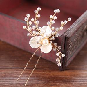 Acessórios de cabelo da noiva Mulheres nupcial headpiece Handmade AiliBride Gold Pearl strass cabelo pinos casamento Jóias Flor