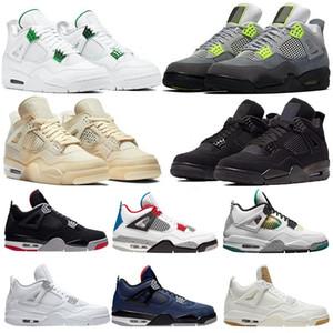 2020 Novo 4 4s Jumpman Basketball Sapatos Metálicos Vermelho Roxo Verde Bred Ovo Splatter Black Cat O que os homens Mens Sport Sneakers