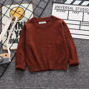 Autumn Winter Kids Boys Girls Pure Color Long Sleeve Knit Sweater Children Clothing Baby Kids Top Boys Girls Pullover Sweaters bbymtX
