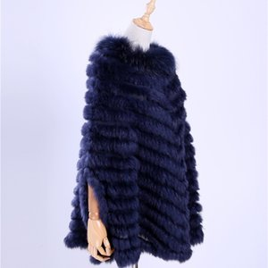 New Women's Luxury Pullover Knitted Genuine Rabbit Raccoon Fur Poncho Cape Scarf Knitting Wraps Shawl Triangle Coat 201018
