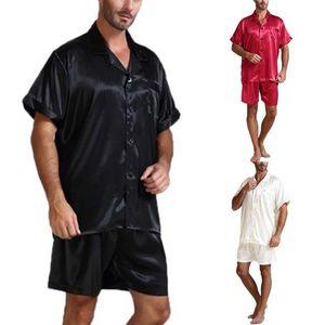 Мужская Silk Satin Pajamas с коротким рукавом Pajama набор набор набор кнопок на пуговицах спустя для ночной одежды Ночная одежда + шорты 2 шт. Черный белый M-3XL