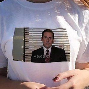 Funny Womens T shirt Im Ben Dead Inside Quote Office Michael Scott Mode Grunge Esthetic Tea Shirt Femme