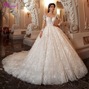 Gorgeous chapel casual clothes train lace dress bride 2019 sexy long sleeve neck round number bridal dress Princess