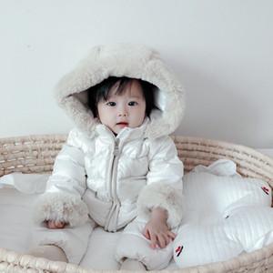 Envío gratis grueso cálido bebé baby mono encapuchado interior fleece muchacha muchacha invierno otoño overms windover niños ropa exterior niños Snowsuit