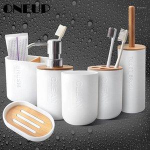Accesorios de baño de plástico de OneUP Conjuntos Dispensador de jabón / Tenedor de cepillo de dientes / Tumbler / Soapet para baño Home Bamboo Products1