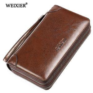 Nuova borsa Genuine Portafogli Pochette Pochette in pelle Weixier Uomo Portafoglio tasca lunga moneta con rjols