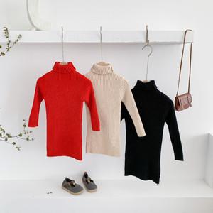 INS Детские платья для девочек осень зима Новое прибытие девушки моды Вязаные свитера Дети конфеты цвет свитер платье