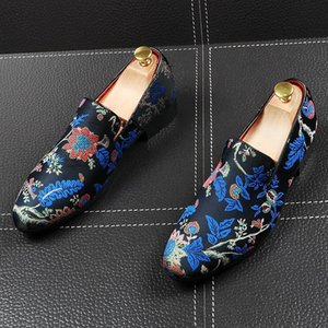 CuddlyIIPanda Men Fashion Casual Loafers Spring Autumn Pointed Toe Print Flowers Leisure Driving Shoes Men Sneakers