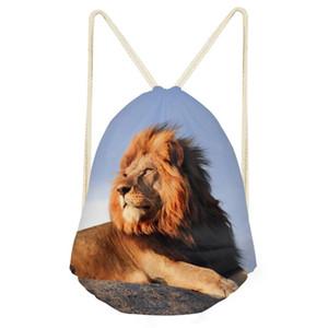 Mulheres novas de Drawstring Saco Rapazes Raparigas Adolescente Crianças Backpack Lion King corda da tração de bolso bonito Worek Plecak Sznurek Drop Shipping