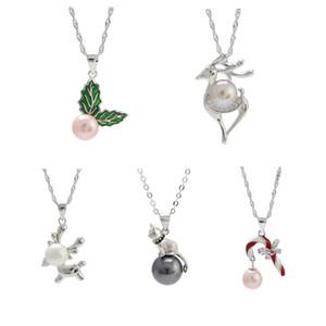 S925 Configurações colar de pérolas 5 Estilos Sterling Silver Pearl Configurações pendente para Mulheres 925 marcados jóias para presente de aniversário de Natal DIY