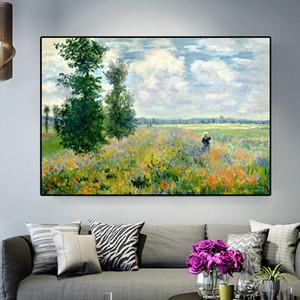 Argenteui Peyzaj Yağ Tuval Poster Baskılar Cuadros Wall Art Pictures For Living Room üstünde resim de Claude Monet Poppies yazdır