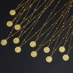 12 Zodiac Sign Necklaces Gold Round Coin Pendant Constellation Necklace for Women Fashion Jewelry Birthday Gift Dropshipping