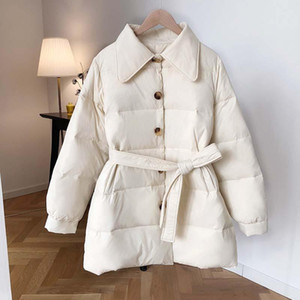 Yeeloca Winter Fashion White Thick Warm Duck Coat With Belt Women's Casual Single-breasted Sustans Coat Warm Winter