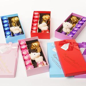 Искусственные розы Цветы Моделирование Розовое мыло Цветы Подарочные коробки Творческие Розы Для День Святого Валентина Подарочные Подарки Мыло Цветок Роза XD24343