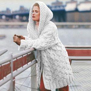 Women Hooded Long Cardigan Knitted Winter Sweater Female Women Sweater Pocket Cardigan Coat Plus Size S-3XL