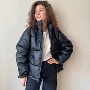 Parkas de cuero de invierno de las mujeres 2020 NUEVO nuevo espesor sólido Cremallera caliente a prueba de viento PU chaquetas de cuero abrigo de nieve para mujer tamaño M-3XL