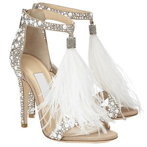 Crystal Shoes Woman Rhinestone Thin High Hells Jewels Zapatos De Mujer Feather Sandals Woman Ankle Bucky Party Wedding Shoes