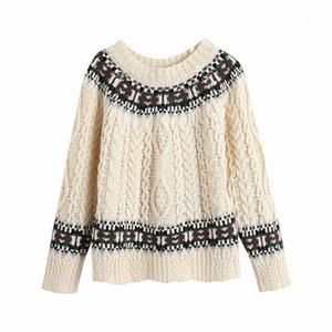 PUWD Vintage mujer beige suelto bordado suéter otoño invierno dulce raglan manga pullover chicas casual knitwear1
