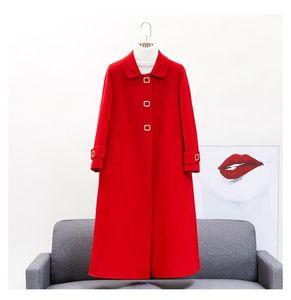 New Fashion women's High quality 100% wool coat Autumn Winter elegant warmwoolen overcoat C1091