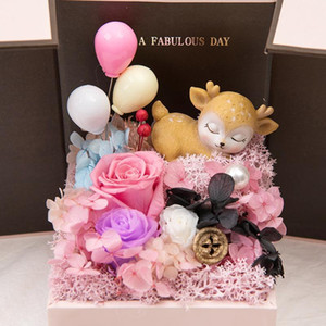 Romantic Valentine's Day Gift Birthday Wedding Present Necklace Gift Box Artificial Rose Soap Eternal Flower Bouquet Gift For Guests