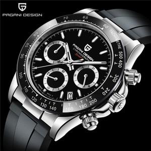 Regalo di Natale GRATUITO Pagani Design Black PVD Automatic Mechanical Movement Case Watch Orologi in acciaio inox nero Orologi da polso da uomo