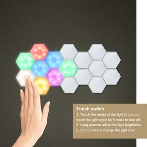 6PCS LED Quantum Hexagonal Wall Lamp with Remote Control Creative Night Light Touch Sensitive Quantum Lamp Modular Wall Lampara