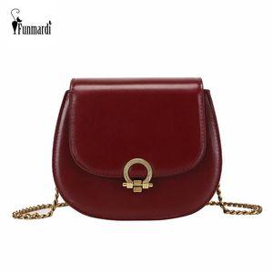 FUNMARDI pe Vintage Bolsas Bolsas Bandoleira para mulheres Design Corrente Ombro PU Leather Bag Mulheres Marca pequeno saco WLHB1957