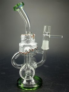 Unique colour Glass Bong Clear Water Pipe Recycler Dab Rig comb and Inline Perc Oil Rigs 14.5mm Joint Bongs Water Pipes Percolator