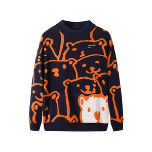 Cartoon Bear Sweater Men Winter Men's Clothing Fashion Long Sleeve Knitted Pullover Sweater Homme Oversized 2020 New Cotton Coat A1105