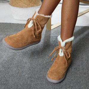 Women Winter Snow Boots Non Slip Ladies Flats Casual Lace Up Plush Warm Mid Calf Shoes Fashion Footwear Female Plus Size Winter