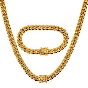 Amumiu хип-хоп полный Bling CZ кубический цирконий ювелирные изделия наборы кубинской цепочки звена ожерелья браслеты коробки застежка Miami Cubra HZTZ1831