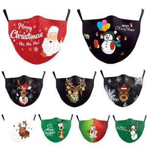 christmas face mask 2020 Christmas elk cartoon digital printing dust-proof washing protective mask can put PM2.5 filter mask