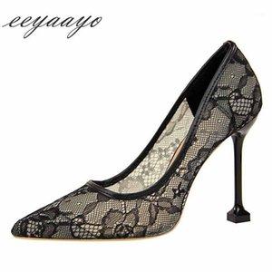 Venta caliente-2021 nueva primavera / otoño mujeres bombas de altura tacón de punta puntiagudo con punta poco profunda marrón de moda sexy mujeres zapatos de mujer negro alto tacones1