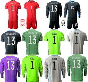 2021 Season Spain Goalkeeper Custom Kids Kit 13 ARRIZABALAGA 1 DE GEA 1 I.CASILLAS Football Jerseys Boys Uniform Sets