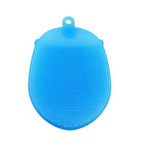 Double face forme elliptique bébé brosse multi-fonctionnelle gant brosse de bain silicone bain femme enceinte gommage laver le visage cuisine outil GGE1834