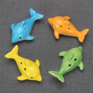 Bonito 6 buraco cerâmico golfinho ocarina brinquedo educativo instrumento musical forma forma educacional música flauta charme dhf3890