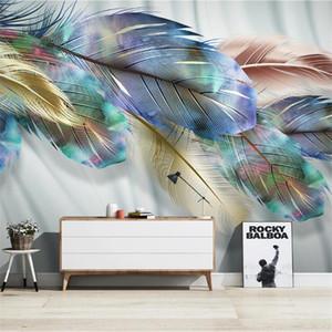 Grand Papier peint 3D Mural Custom Nordic Modern Color Feather TV Sofa Fond d'écran Fond d'écran Mural