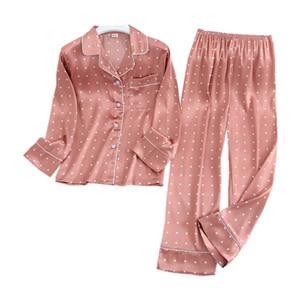 Lisacmvpnel Long Sleeve Pajamas Autumn Ice Silk Long Sleeve Trousers Suit Printing Fashion Pyjamas Set 201014